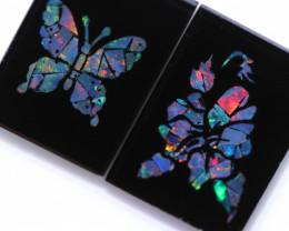 12 Cts Pair Australian Opal mosaic Butterfly/Flower   Design     CCC 2339