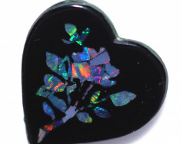 3.4 Cts  Australian Opal mosaic  Heart Flower Design     CCC 2345