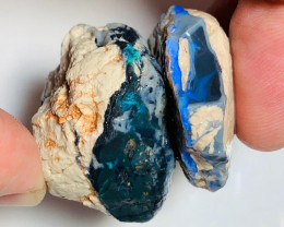Very Big & Thick Rough Black Seam Opals - A Pair of Rough to Cut & Carve