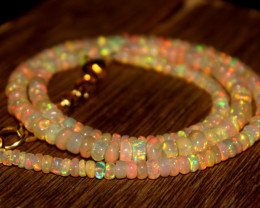 38 Crts Natural Ethiopian Welo Opal Beads Necklace 543