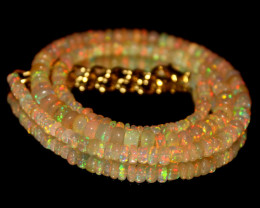 45 Crts Natural Ethiopian Welo Opal Beads Necklace 542