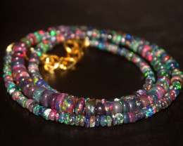 34 Crts Natural Ethiopian Welo Smoked Opal Beads Necklace 102