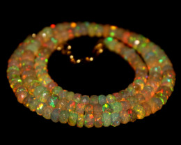 47 Crts Natural Ethiopian Welo Faceted Opal Beads Necklace 261