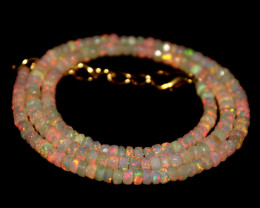 31 Crts Natural Ethiopian Welo Faceted Opal Beads Necklace 271