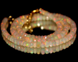 48 Crts Natural Ethiopian Welo Faceted Opal Beads Necklace 264