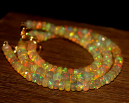 48 Crts Natural Ethiopian Welo Faceted Opal Beads Necklace 270