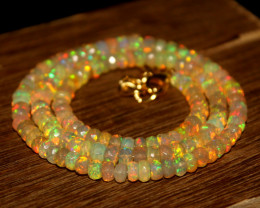 47 Crts Natural Ethiopian Welo Faceted Opal Beads Necklace 260