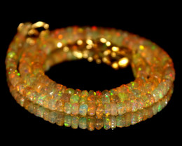 33 Crts Natural Ethiopian Welo Faceted Opal Beads Necklace 268
