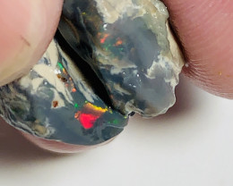 Red Colour Bars in Dark Rough Nobby Opals to Explore #972