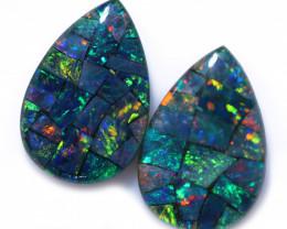 4 Cts Pear Drop Australian Opal Triplet Mosaic  CCC 3207