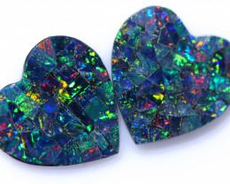 3.5 Cts Lovers Heart Australian Opal Doublet Mosaic  CCC 3222