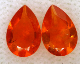 0.36 CTS MEXICAN FACETED FIRE OPAL PAIR FOB - 2498