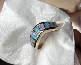 Men's Inlay opal ring