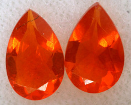1.0 CTS MEXICAN FACETED FIRE OPAL PAIR FOB -2512