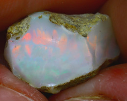 12.36Ct Multi Color Play Ethiopian Welo Opal Rough JF1226/R2