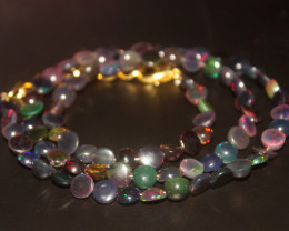 40 Crts Natural Ethiopian Welo Smoked Opal Coins Necklace 138