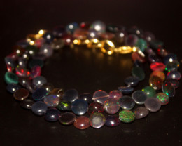 40 Crts Natural Ethiopian Welo Smoked Opal Coins Necklace 137