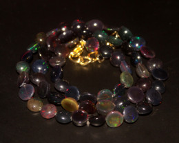 65 Crts Natural Ethiopian Welo Smoked Opal Coins Necklace 145