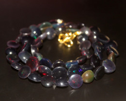 82 Crts Natural Ethiopian Welo Smoked Opal Coins Necklace 147