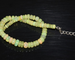 23.25 CT OPAL BRACELET MADE OF NATURAL ETHIOPIAN BEADS STERLING SILVER OBB2