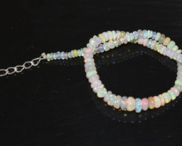 13.75 CT OPAL BRACELET MADE OF NATURAL ETHIOPIAN BEADS STERLING SILVER OBB2