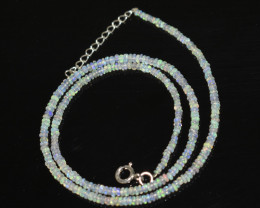 OPAL NECKLACE MADE WITH NATURAL ETHIOPIAN BEADS STERLING SILVER OBJ-239