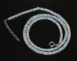 OPAL NECKLACE MADE WITH NATURAL ETHIOPIAN BEADS STERLING SILVER OBJ-241