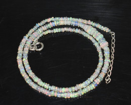 OPAL NECKLACE MADE WITH NATURAL ETHIOPIAN BEADS STERLING SILVER OBJ-243
