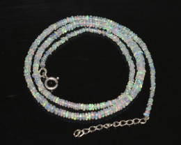 OPAL NECKLACE MADE WITH NATURAL ETHIOPIAN BEADS STERLING SILVER OBJ-245