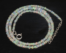 OPAL NECKLACE MADE WITH NATURAL ETHIOPIAN BEADS STERLING SILVER OBJ-247