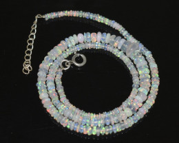 OPAL NECKLACE MADE WITH NATURAL ETHIOPIAN BEADS STERLING SILVER OBJ-248