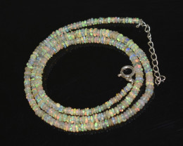 OPAL NECKLACE MADE WITH NATURAL ETHIOPIAN BEADS STERLING SILVER OBJ-249