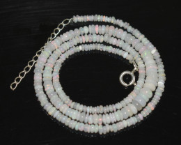OPAL NECKLACE MADE WITH NATURAL ETHIOPIAN BEADS STERLING SILVER OBJ-251