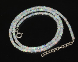 OPAL NECKLACE MADE WITH NATURAL ETHIOPIAN BEADS STERLING SILVER OBJ-252