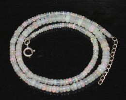 OPAL NECKLACE MADE WITH NATURAL ETHIOPIAN BEADS STERLING SILVER OBJ-253
