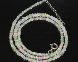 OPAL NECKLACE MADE WITH NATURAL ETHIOPIAN BEADS STERLING SILVER OBJ-254
