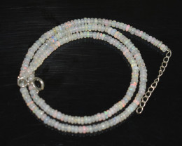 OPAL NECKLACE MADE WITH NATURAL ETHIOPIAN BEADS STERLING SILVER OBJ-258