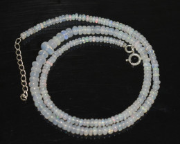 OPAL NECKLACE MADE WITH NATURAL ETHIOPIAN BEADS STERLING SILVER OBJ-259