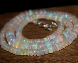 92 Crts Natural Ethiopian Welo Opal Beads Necklace 3205