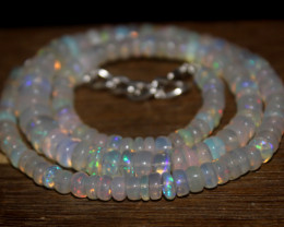 91 Crts Natural Ethiopian Welo Opal Beads Necklace 3216