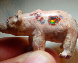 $1 NR Auction 80ct Bear Mexican Cantera Figurine Opal