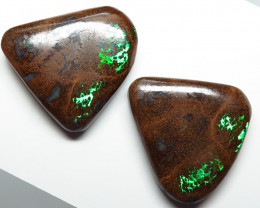 Australian Boulder Matrix Opal Pair 75.23ct Queensland Natural Stone