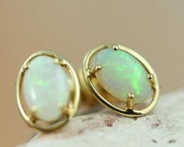 Cute Crystal  Opal set in 14k Yellow Gold Earring CK 508