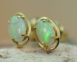 Cute Crystal  Opal set in 14k Yellow Gold Earring CK 509