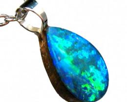 Australian Opal Pendant Sterling Silver 2.25ct Doublet RRP: $255