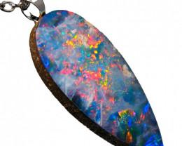 Australian Opal Pendant BIG Sterling Silver 8ct Doublet RRP: $260