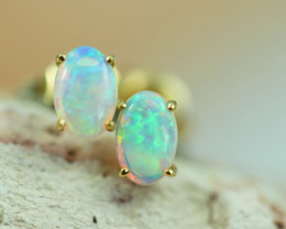 Cute Crystal  Opal set in 14k Yellow Gold Earring CK 524