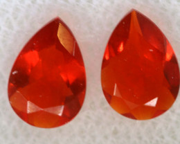 0.76 CTS MEXICAN FACETED FIRE OPAL PAIR FOB -2516