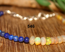 Natural Ethiopian Opal Bracelet with Lapis Beads 546