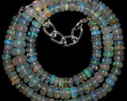 90 Crts Natural Ethiopian Welo Opal Beads Necklace 3288